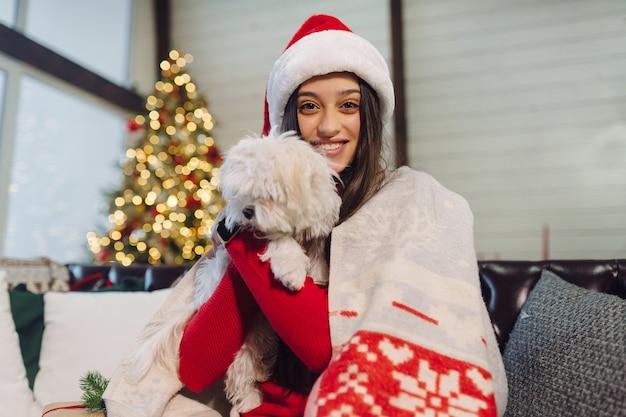 팔에 작은 개를 안고있는 소녀가 새해 전날 소파에 앉아 있습니다.