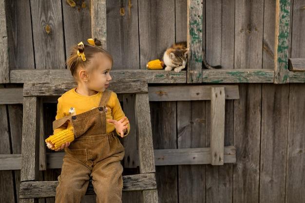Девушка с початком сидит на стремянке
