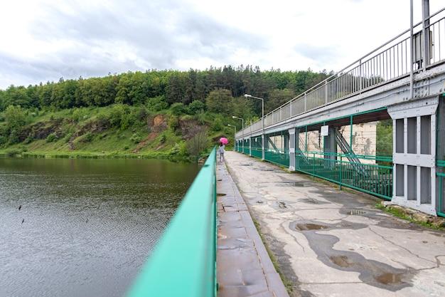 森の中を散歩する曇りの天気で傘を持った少女は、風景を背景に橋の上に立っています