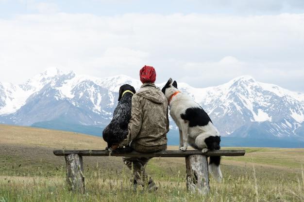 2匹の犬を飼っている女の子がベンチに座って山の景色を眺めています。女の子は2匹の犬と一緒に旅行します。犬の旅行者