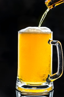 A glass of cold beer macro photography