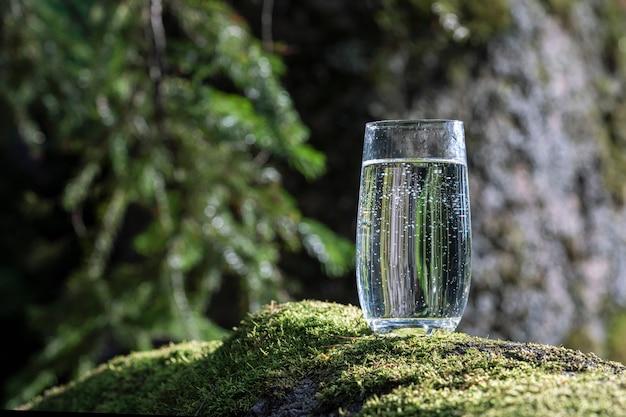 Стакан питьевой чистой минеральной воды в прозрачном стакане стоит на зеленом мхе