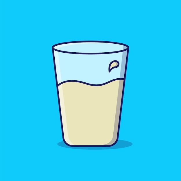 Стакан молока мультфильм значок иллюстрации