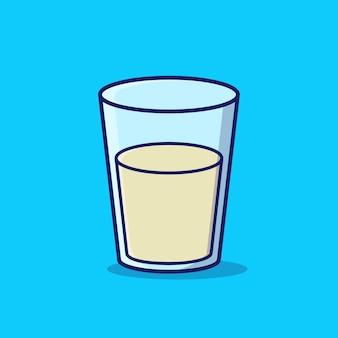 Стакан молока вектор мультфильм значок иллюстрации
