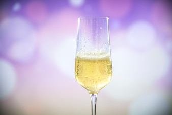 A glass of sparkling wine