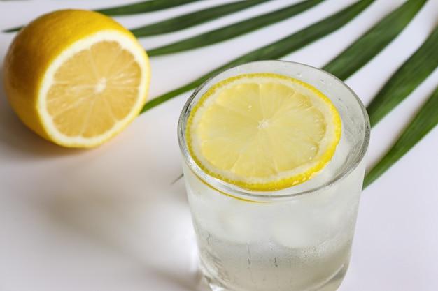 테이블 클로즈업 여름 다과 및 해독 개념에 얼음 조각과 레몬이 든 물 한 잔