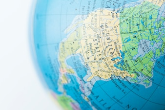 A globe with Map of background