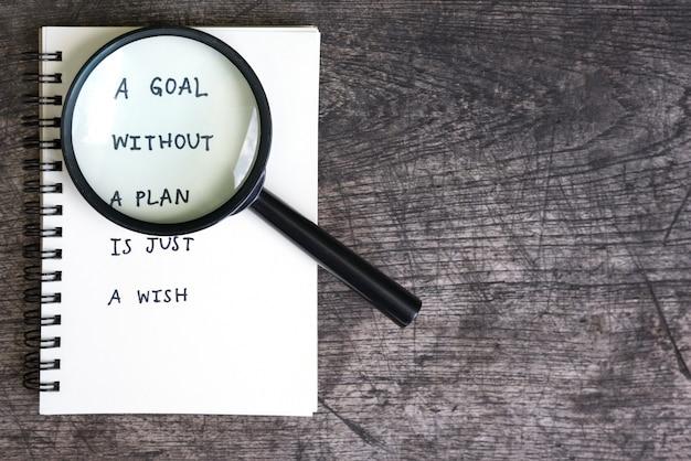 計画なしの目標はちょうど願いです