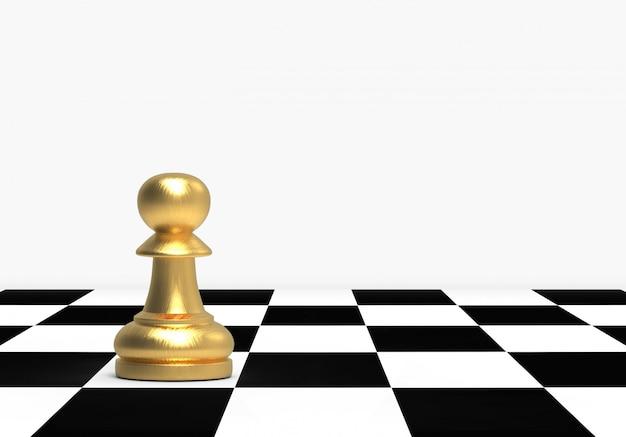 Золотая нормальная пешка шахмат на предпосылке доски.