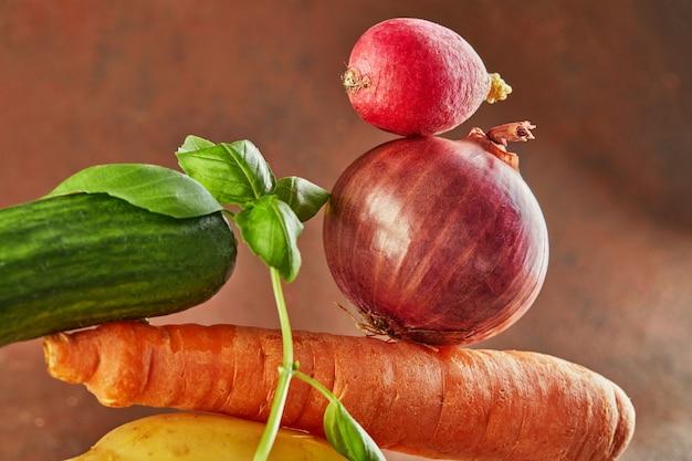 Пищевая композиция для гурманов с красочными овощами на коричневом