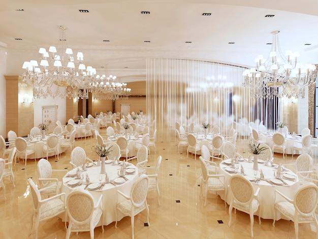 고급 호텔의 그랜드 레스토랑과 연회장. 인테리어 디자인은 고전적인 스타일로 실행됩니다. 3d 렌더링.
