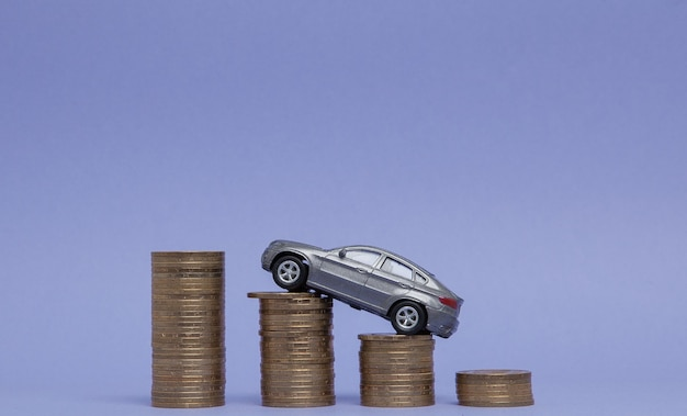 보라색에 히스토그램 형태의 동전이 달린 자동차의 회색 모델