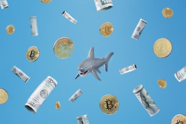 青い背景に暗号通貨とお金の周りのホオジロザメ。ビジネスと外国為替投資の危険なサメの概念的な比喩的なイメージ