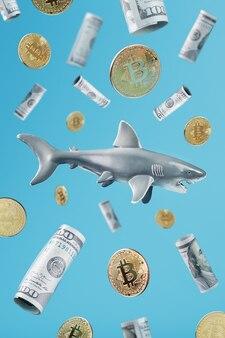 青い背景に暗号通貨とお金の周りのホオジロザメ。