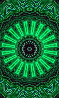 녹색 빛나는 꽃 만화경 패턴 배경. 세로 이미지.