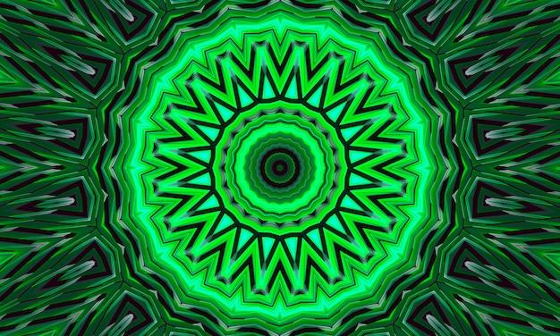 녹색 빛나는 꽃 만화경 패턴 배경.