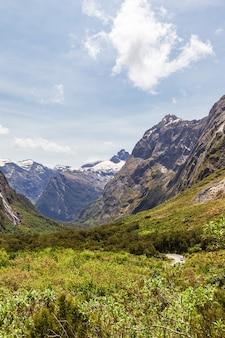 Зеленая долина и заснеженные горные вершины на пути к фьордленду новой зеландии.
