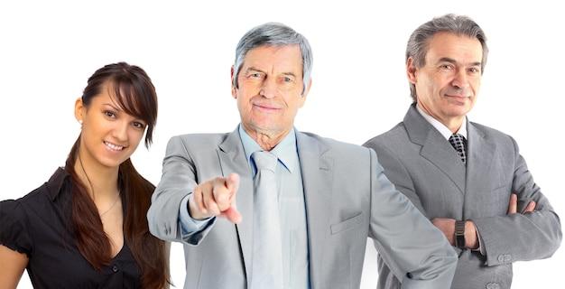 흰 벽에 고립 된 사업 사람들의 그룹