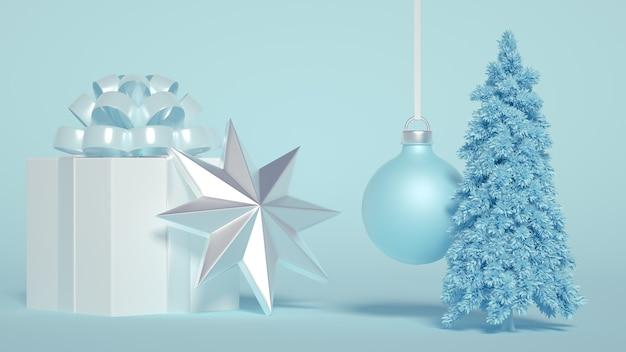 木とクリスマスの装飾のグループ