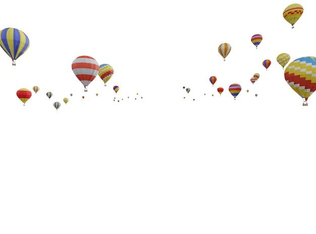 白い背景に孤立して浮かんでいるカラフルな熱気球のグループ。 3d
