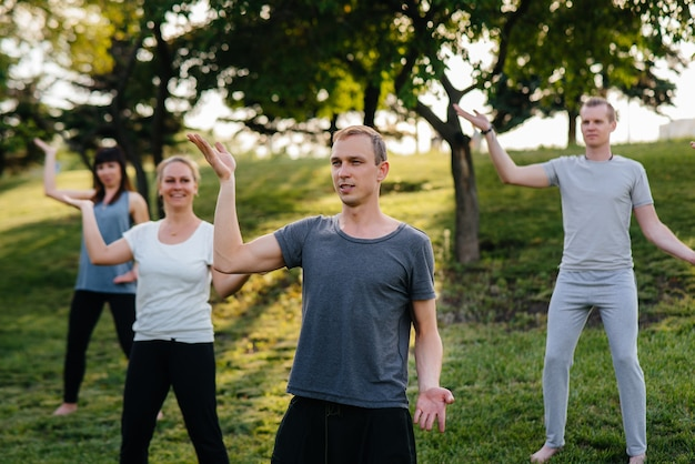 한 무리의 사람들이 해질녘 공원에서 요가를합니다. 건강한 생활 습관, 명상 및 건강.