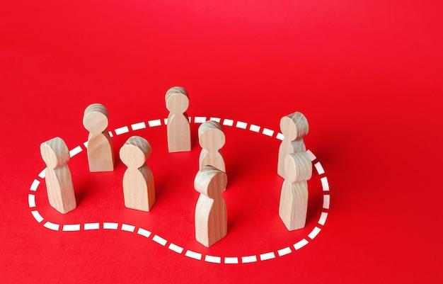 人々のグループは点線で囲まれています社会とコミュニティの概念をチーム化する人々のグループ化ターゲットオーディエンスのマーケティングとセグメンテーション