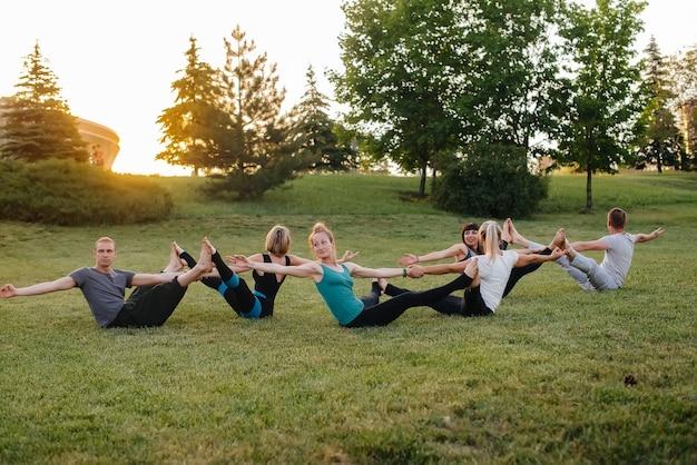 한 그룹의 사람들이 일몰 동안 공원에서 짝을 이루는 요가 운동을 수행합니다. 건강한 생활 습관, 명상 및 건강.