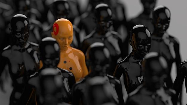Группа роботов, стоящих рядами, один робот из всех имеет явное отличие