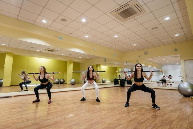 어린 소녀 그룹은 숙련 된 코치의지도하에 피트니스에 종사합니다. 피트니스, 건강한 라이프 스타일.