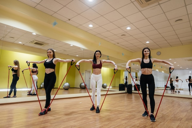 어린 소녀 그룹은 숙련 된 코치의지도하에 확장기와 피트니스에 종사하고 있습니다. 피트니스, 건강한 라이프 스타일.