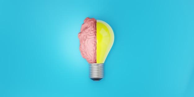 電球と脳の半分。創造的なアイデアとイノベーションの概念、3dイラスト