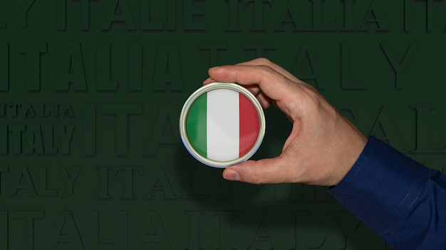 Рука, держащая значок итальянского национального флага на темно-зеленом фоне