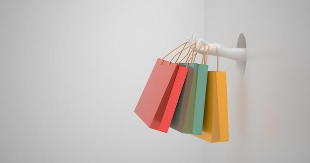 ショッピングバッグを持っている手をクローズアップ。 3dレンダリング。