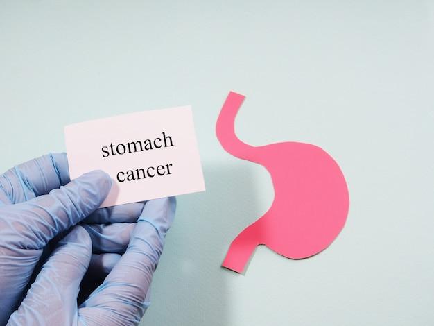Рука в медицинской перчатке держит табличку с надписью «рак желудка» на фоне силуэта живота.