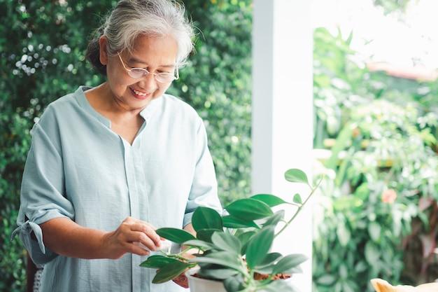 행복하고 웃는 아시아 노인 여성은 은퇴 후 취미를 위해 심기