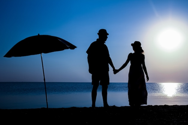 自然の中で旅行のシルエットに日没時の海のそばで幸せなカップル