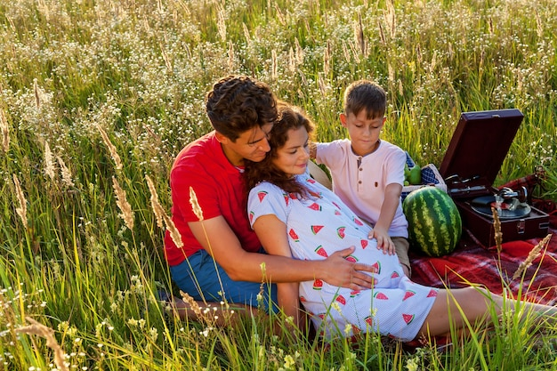 幸せな家族は自然の中で一緒に時間を過ごします。彼らは夏の晴れた日に野原の毛布の上に座っています。自然の中で妊娠中の家族の写真撮影
