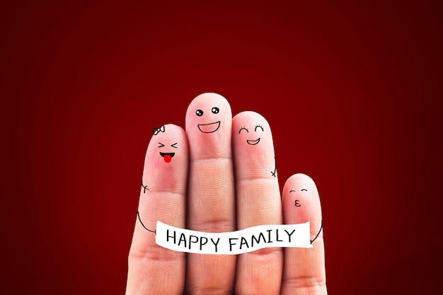 4本の指で幸せな家族、指のイラスト