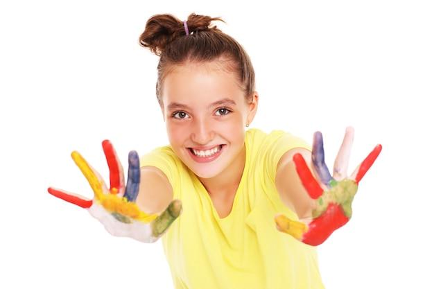 흰색 배경 위에 그려진 손으로 행복한 여자