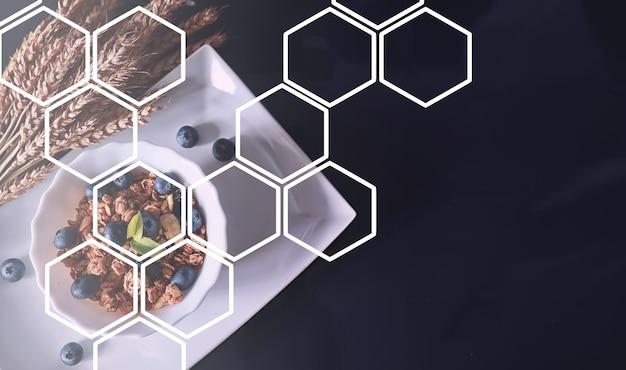 ミルクとフルーツが入ったヘルシーな朝食用シリアル。チョコレートとヨーグルトを添えたオーツ麦とコーンフレーク。健康的で菜食主義の食糧の概念。