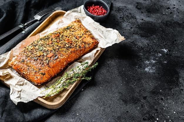 Здоровая диета с высоким содержанием белка, копченое филе атлантического лосося