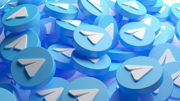 Куча значков приложений telegram в 3d-рендеринге