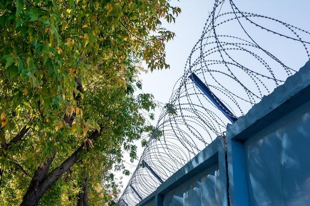 Высокий бетонный забор с колючей проволокой охраняет опасную зону