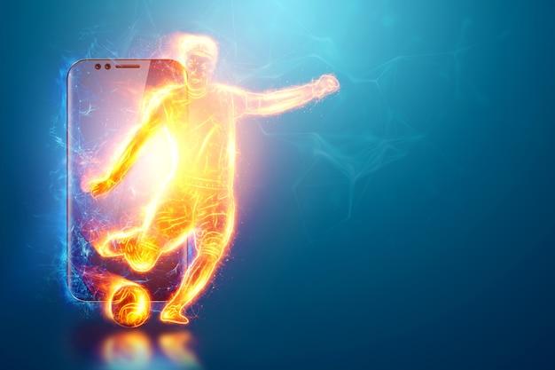 Голограмма футболиста, выбегающего из экрана смартфона. понятие ставок на спорт, футбол, азартные игры, онлайн-трансляции футбола.