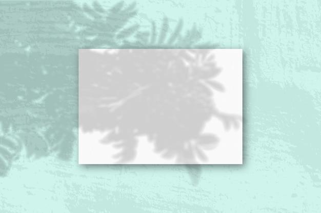 Горизонтальный лист белой текстурированной бумаги формата а4 на синей стене
