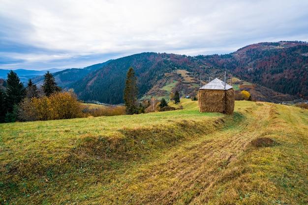 あまり良くない曇りの天気の緑の湿った牧草地の雨からのフィルムで覆われた巨大な干し草の山