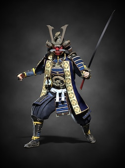 Японский самурай с обнаженным мечом. 3d иллюстрация