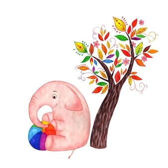 Радостный розовый слон сидит под сказочным деревом и держит в руках радужный шар детская иллюстрация