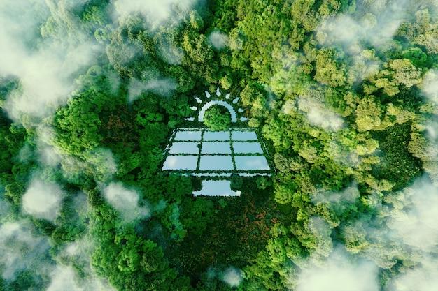 청정한 열대우림 한가운데에 있는 호수로, 녹색 신재생 에너지의 장점과 친환경성을 상징하는 태양광 발전소 형태를 하고 있습니다. 3d 렌더링.