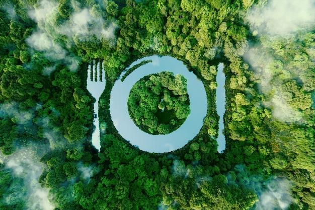 Озеро в форме тарелки для столовых приборов посреди нетронутой природы. метафора веганства, вегетарианства и отказа от мяса в еде. 3d-рендеринг.